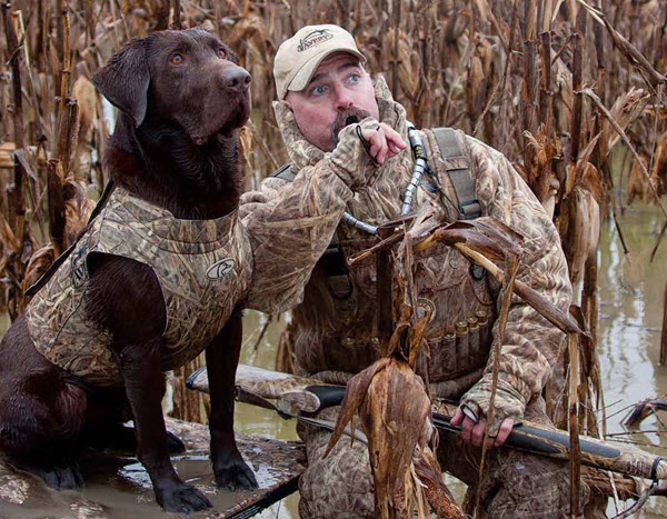 January 2016 - man & dog duck hunting in winter