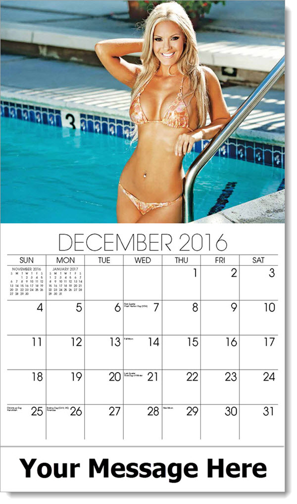 2017 Promotional Wall Calendars - model in pink string bikini in pool - December_2016