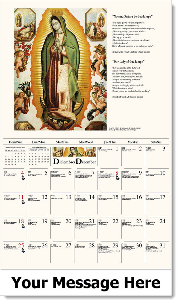 2017 Spanish-English Promotional Wall Calendars - Nuestra Señora de Guadalupe / Our Lady of Guadalupe - December_2016