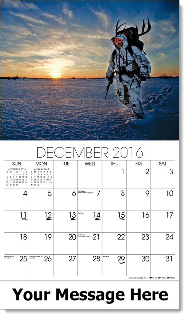 2017 Promotional Wall Calendars - man hunting in winter - December_2016
