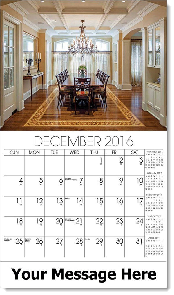 2017 Promotional Wall Calendars - dining room - December_2016