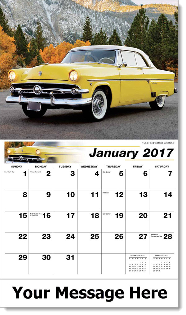 2017 Promotional Wall Calendars - 1954 Ford Victoria Crestline - January