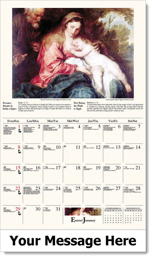 2017 Spanish-English Promotional Wall Calendars - Descanso durante la huida a Egipto / Rest During the Flight to Egypt - January