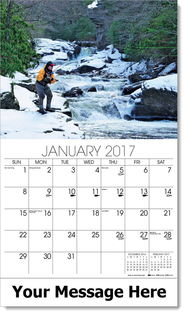 2017 Promotional Wall Calendars - fly fishing on snow covered rocks - January