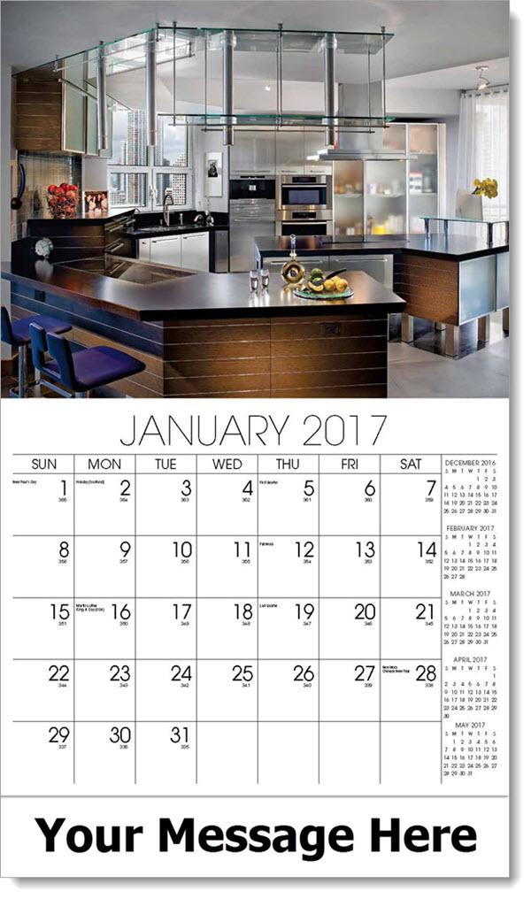 2017 Promotional Wall Calendars - modern kitchen - January