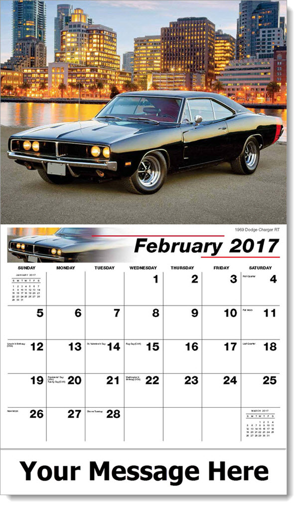 Promotional Wall Calendars 2017 - 1969 Dodge Charger RT - February