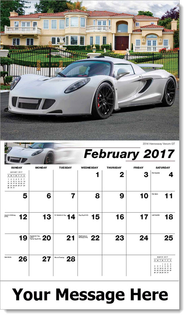 Promotional Wall Calendars 2017 - 2014 Hennessey Venom GT - February