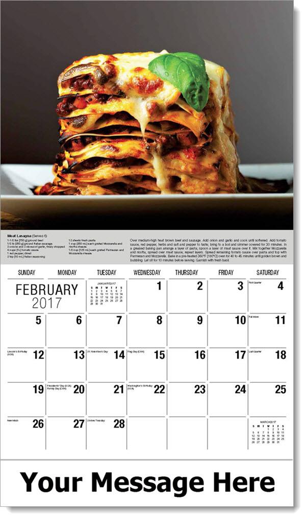 Promotional Wall Calendars 2017 - Meat Lasagna - February