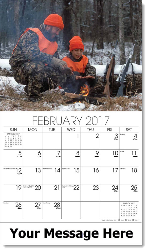 Promotional Wall Calendars 2017 - father and son hunting in winter - February