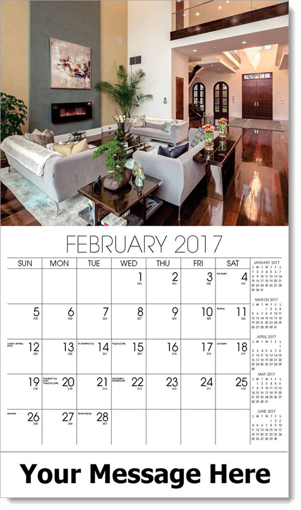 Promotional Wall Calendars 2017 - living room with hall to front door - February