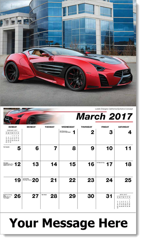 Promotional Wall Calendars 2017 - Laraki Designs California Epitome Concept - March