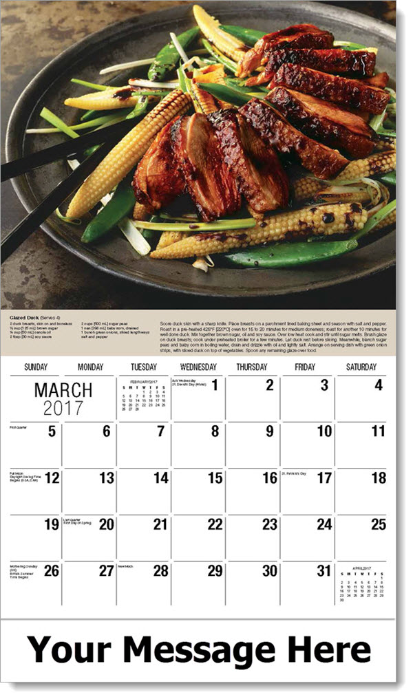 Promotional Wall Calendars 2017 - Glazed Duck - March