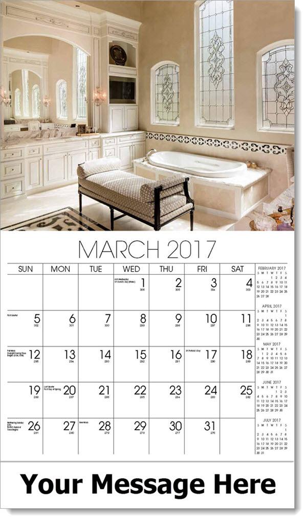Promotional Wall Calendars 2017 - beige bathroom - March