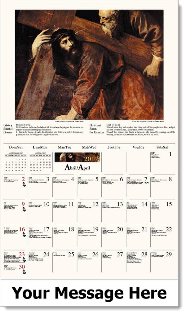2017 Spanish-English Promotional Calendars - Cristo y Simón el Cireneo / Christ and Simon the Cyrenian - April