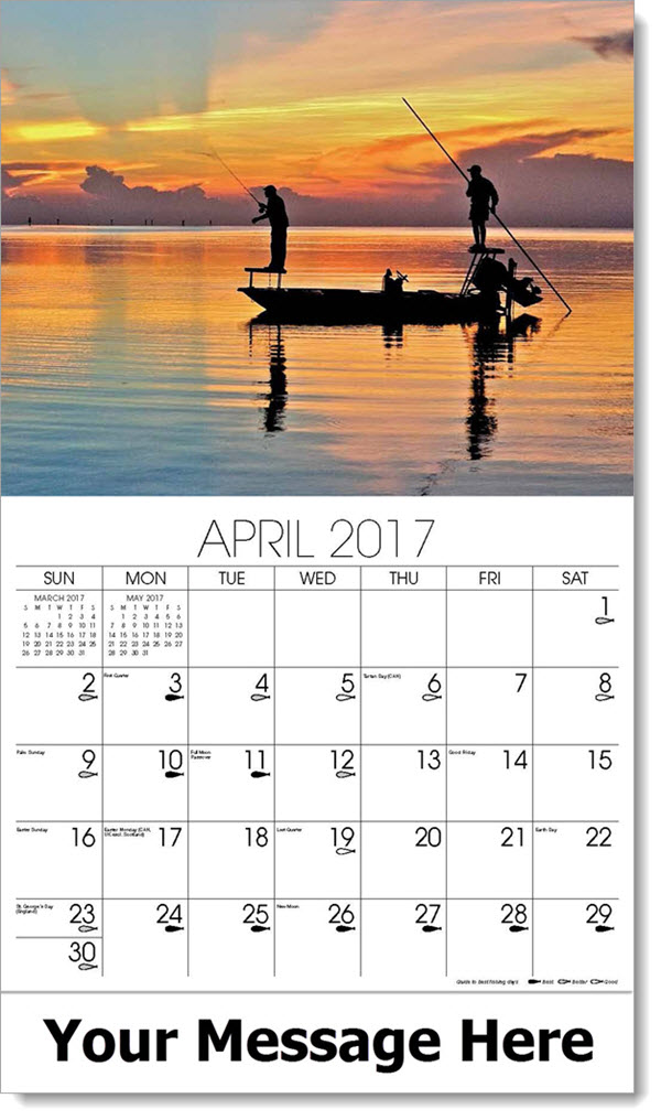 2017 Promotional Calendars - men fishing in boat with sunset - April