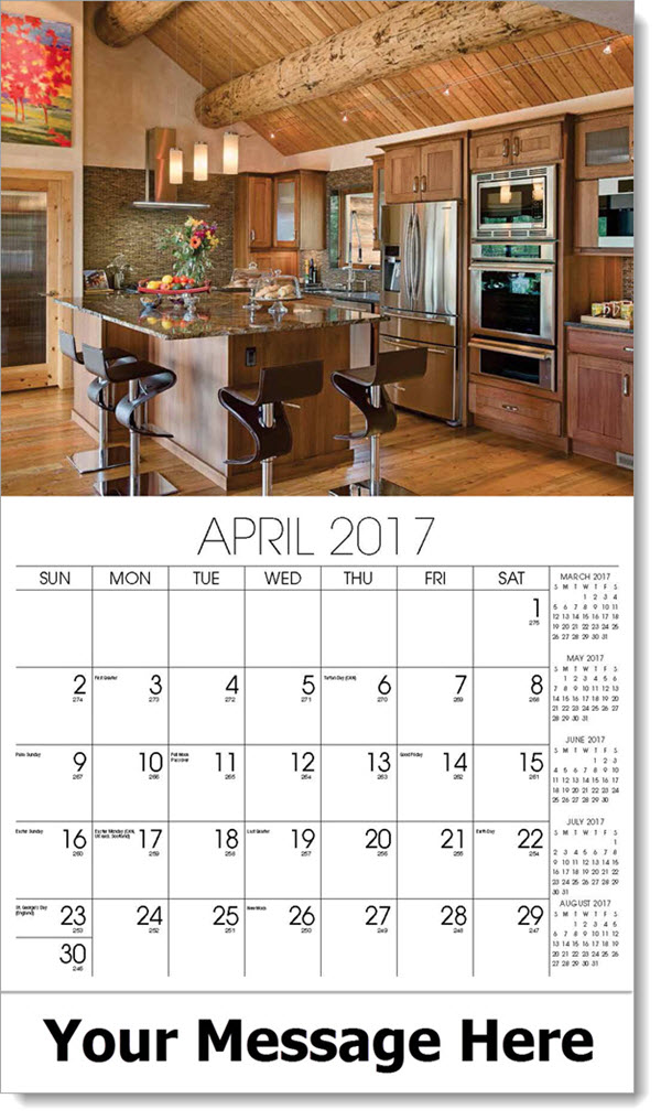 2017 Promotional Calendars - kitchen with wood ceiling - April