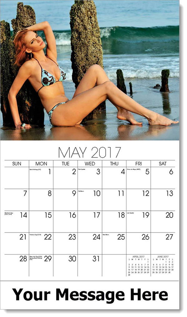 2017 Promotional Calendars - model in light blue and black two piece bikini on beach - May