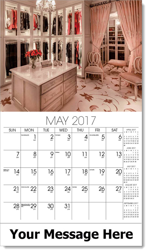 2017 Promotional Calendars - walk in closet - May