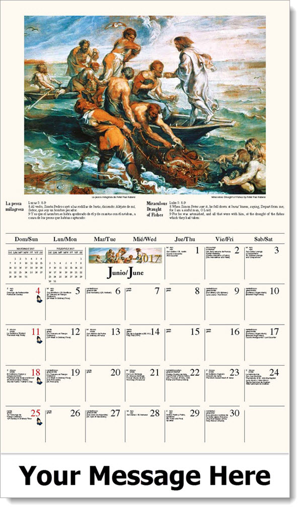 Calendar Art Peter Rolfe : Bilingual spanish english catholic art calendar