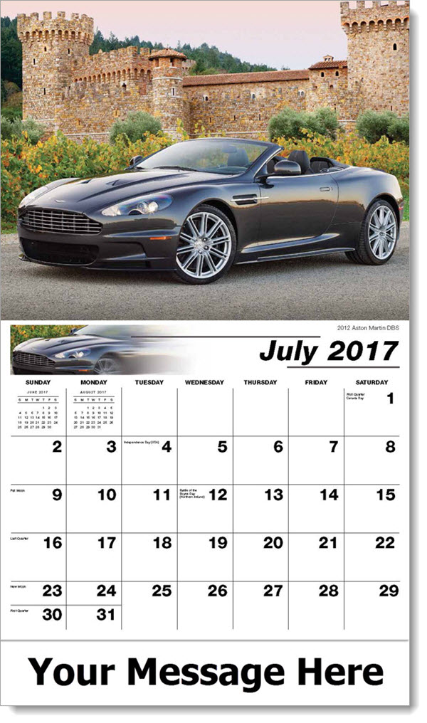 Promotional Calendars 2017 - 2012 Aston Martin DBS - July