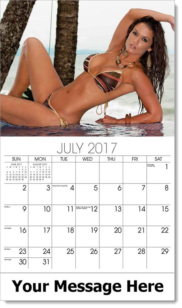 Promotional Calendars 2017 - model in brown bikini - July