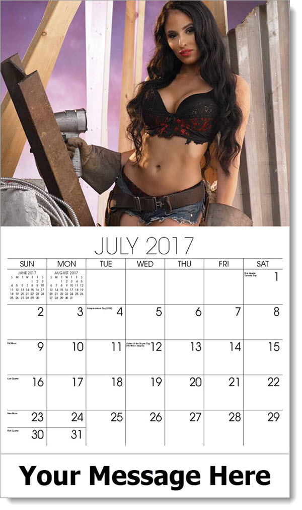 Promotional Calendars 2017 - model with power drill - July