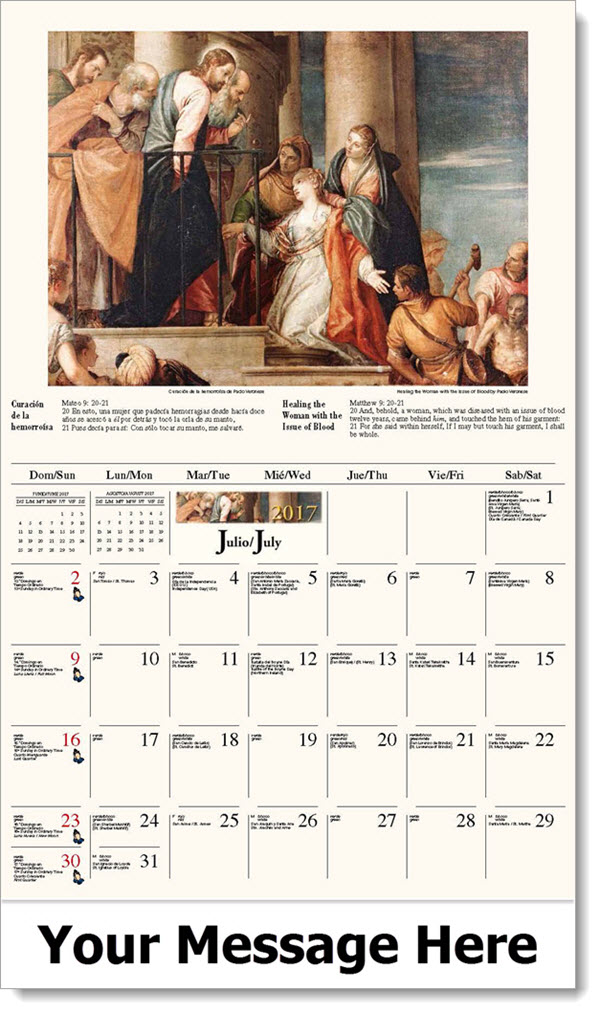 Spanish-English Promotional Calendars 2017 - Curación de la hemorroísa / Healing the Woman with the Issue of Blood - July
