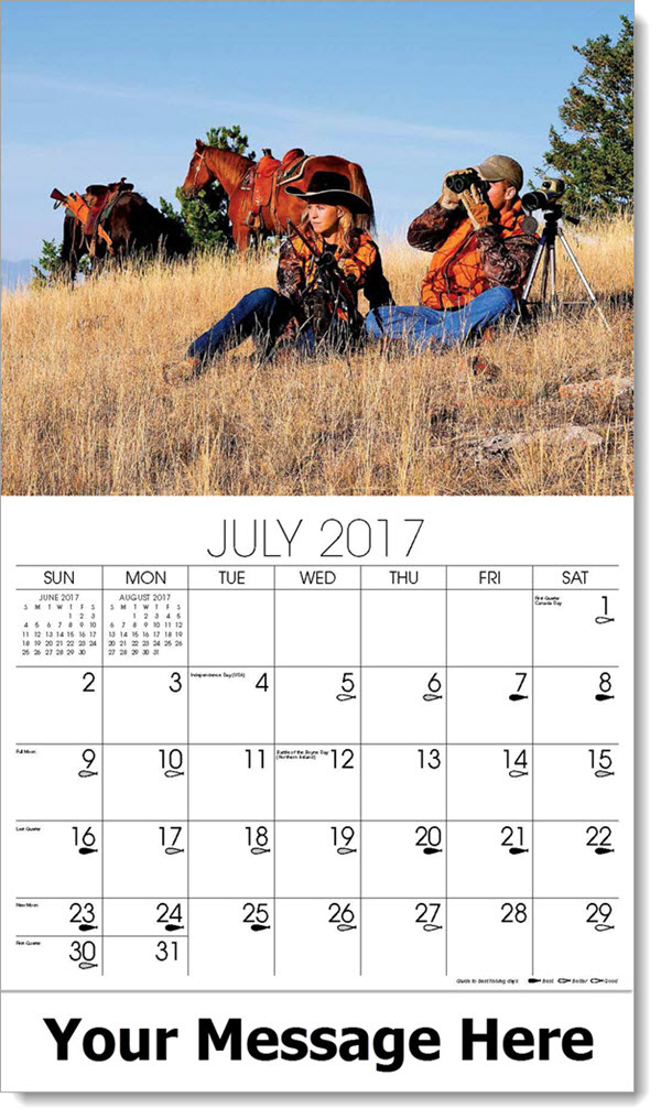 Promotional Calendars 2017 - man and woman hunting with horse - July
