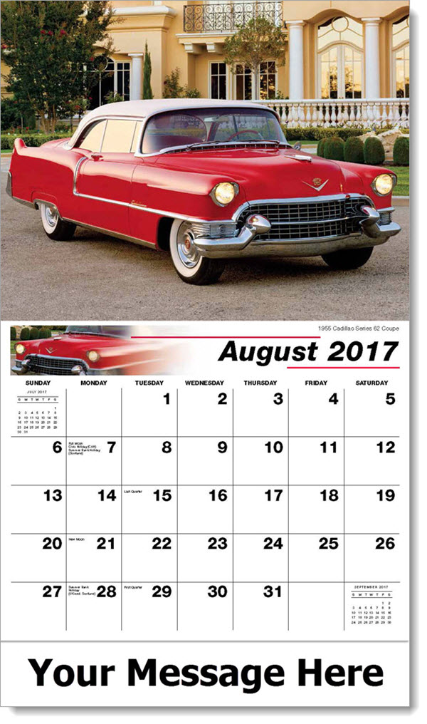 Promotional Calendars 2017 - 1955 Cadillac Series 62 Coupe - August