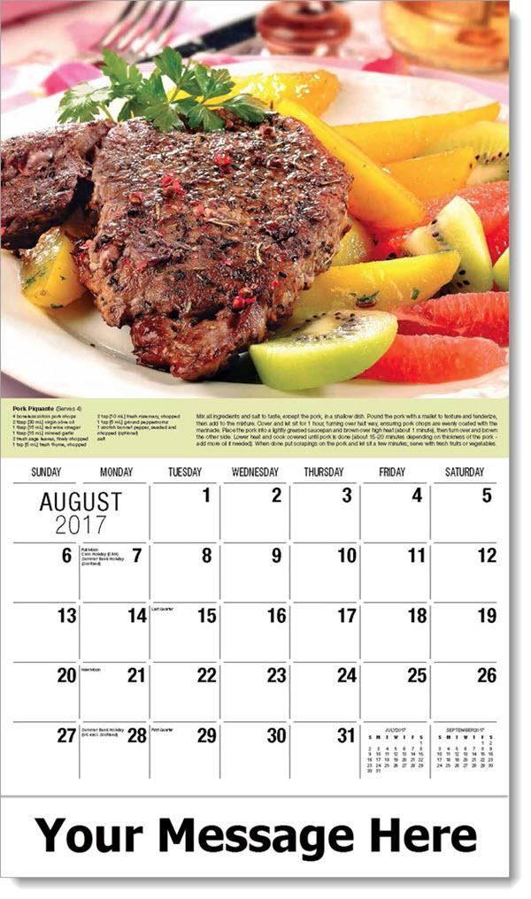 Promotional Calendars 2017 - Piquant Pork - August