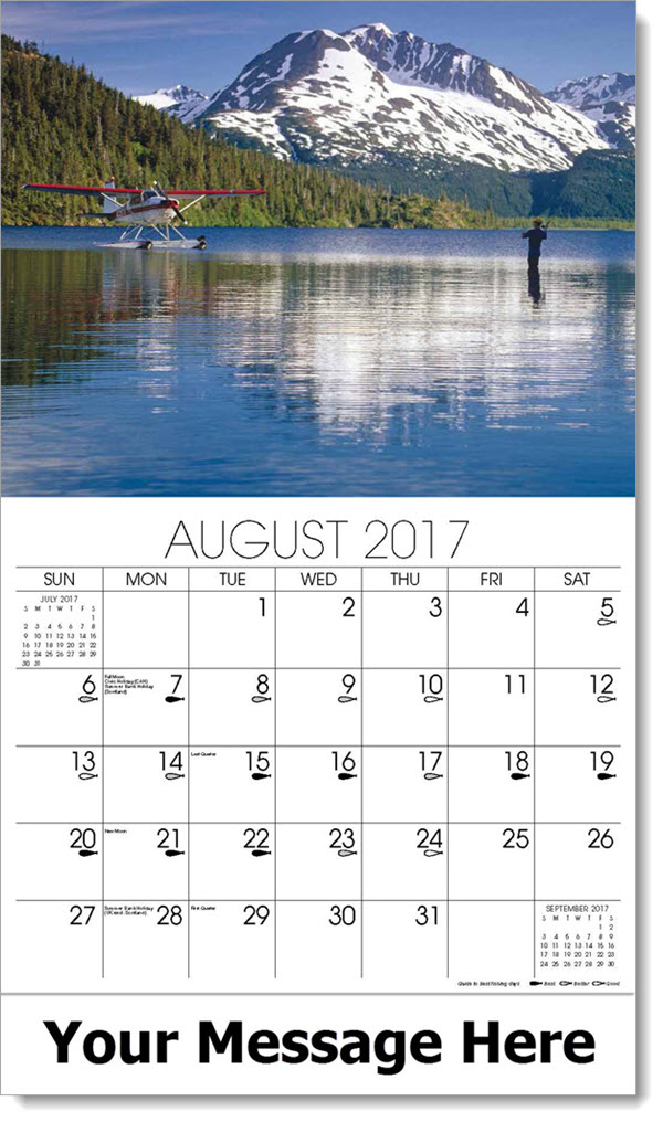 Promotional Calendars 2017 - fly fishing with plane - August