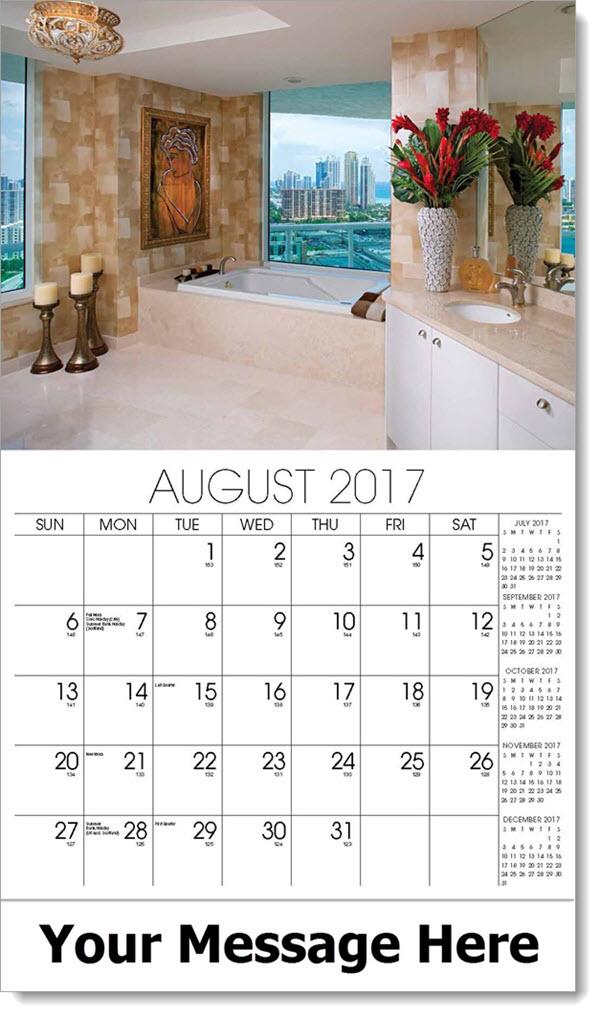 Promotional Calendars 2017 - condo bathroom - August