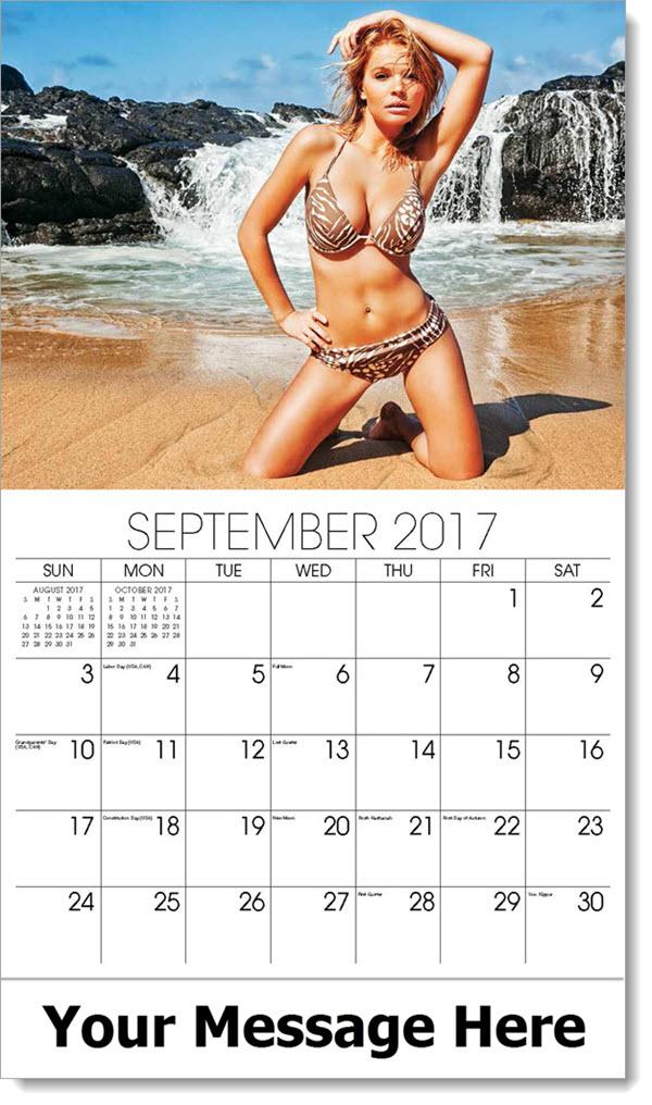 2017 Promo Calendars - model on beach in brown and white bikini - September