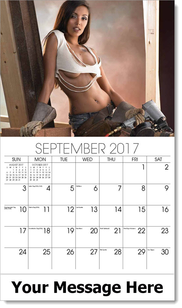2017 Promo Calendars - model with power tool, ripped top - September