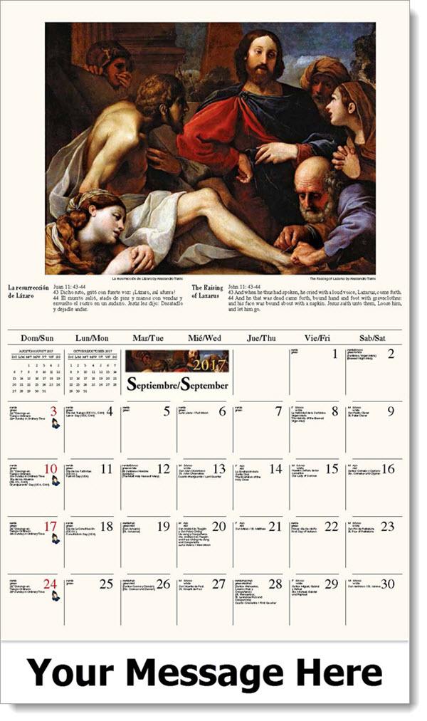 2017 Spanish-English Promo Calendars - La resurrección de Lázaro / The Raising of Lazarus - September