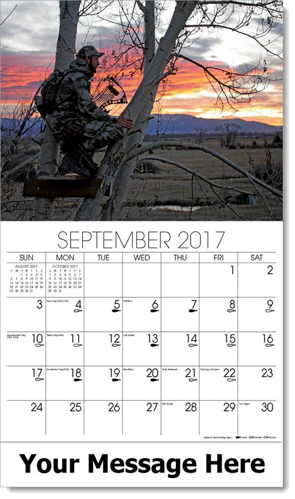 2017 Promo Calendars - bow hunter in tree - September