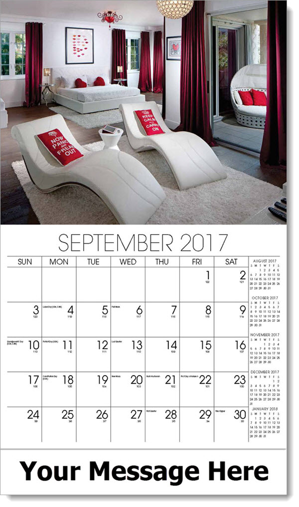 2017 Promo Calendars - red and white bedroom - September