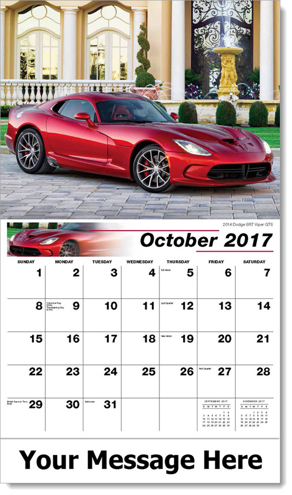 2017 Promo Calendars - 2014 Dodge SRT Viper GTS - October