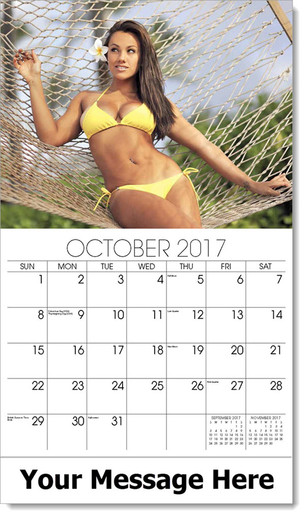 2017 Promo Calendars - model in yellow two piece swimsuit on hammock - October