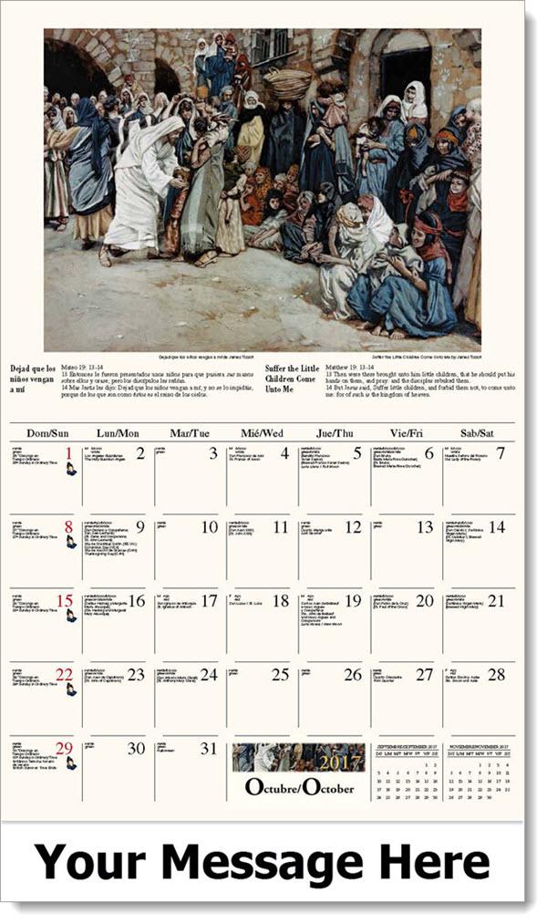 2017 Spanish-English Promo Calendars - Dejad que los niños vengan a mí / Suffer the Little Children Come Unto Me - October