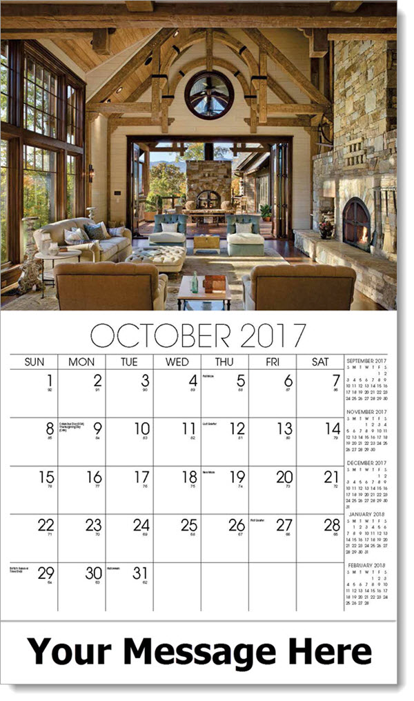 2017 Promo Calendars - great room leading to outdoors - October