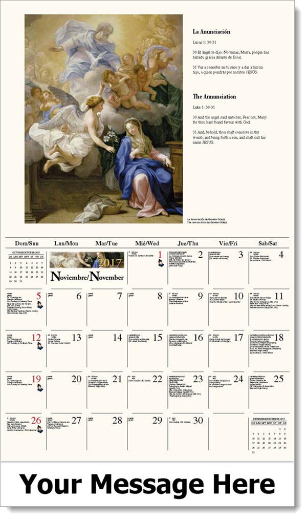 Spanish-English Promo Calendars 2017 - La Anunciación / The Annunciation - November