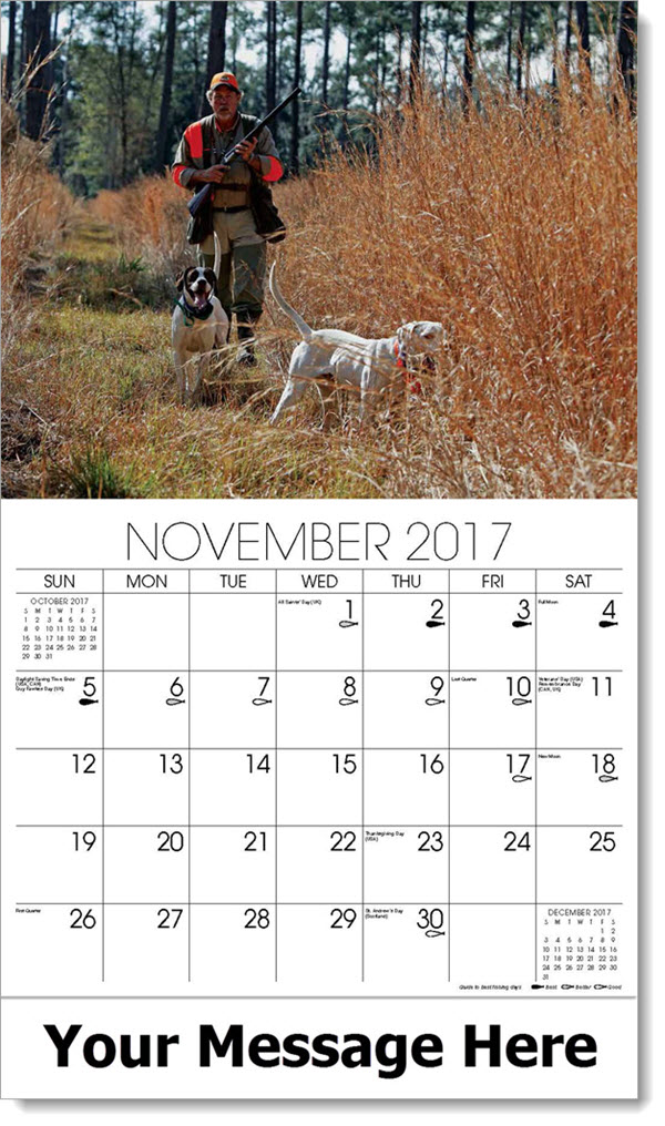 2017 Promo Calendars - man hunting with two dogs - November