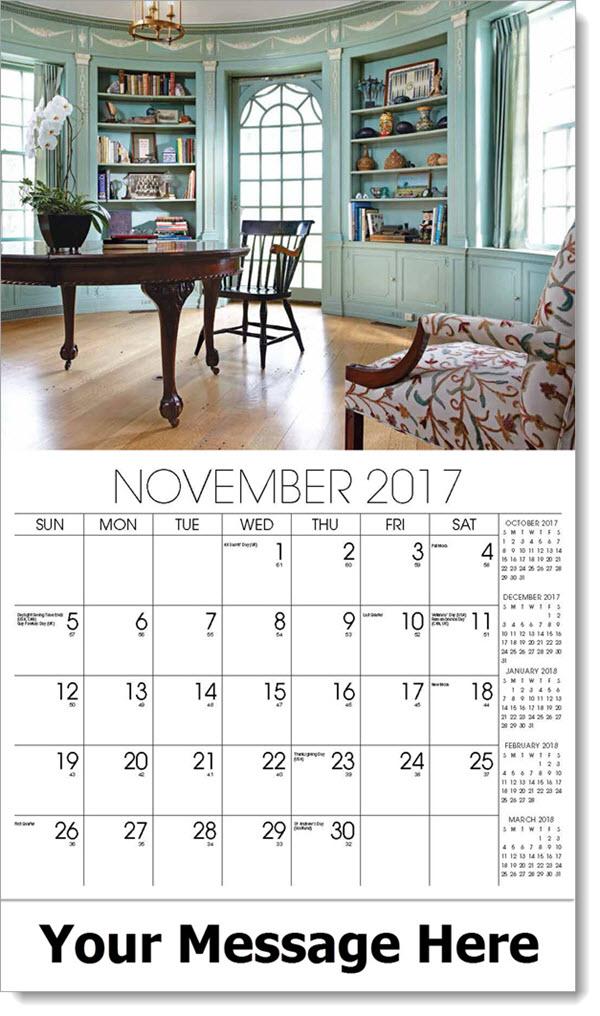 2017 Promo Calendars - blue library/den - November
