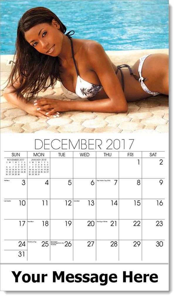 Promo Calendars 2017 - model in white tropical print bikini by pool side - December_2017
