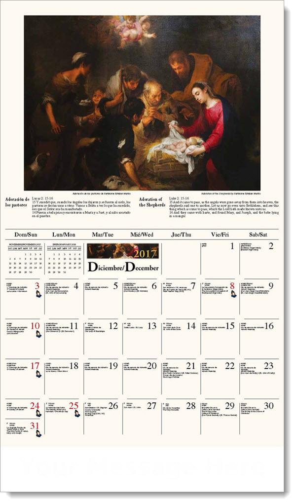 Spanish-English Promo Calendars 2017 - Adoración de los pastores / The Adoration of the Shepherds - December_2017