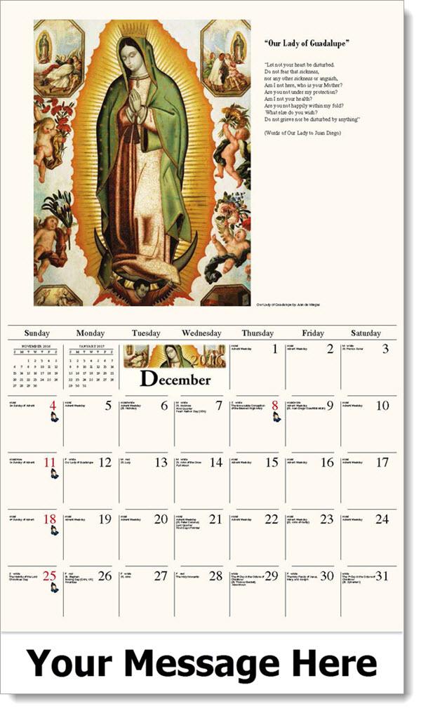 catholic calendar calendars december liturgical monthly mother promotional