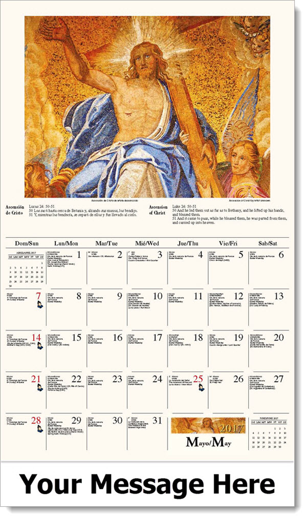 May Spanish Calendar : Bilingual spanish english catholic art calendar