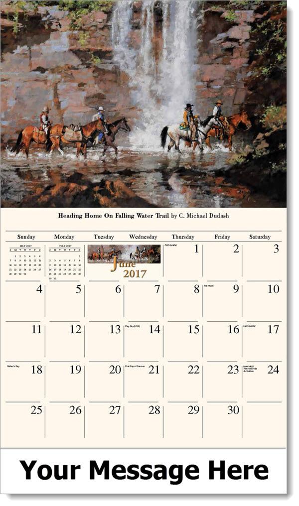 June Calendar Heading : Old west art spirit of the promotional wall calendars