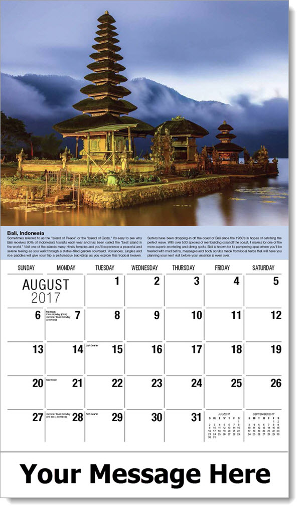 Destinations Of The World World Travel Promo Calendar